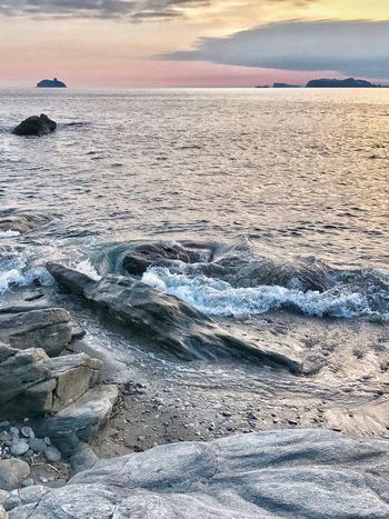 Autumn Sunset Colours Beautiful Sea Sunset Beauty In Nature Water Scenics Nature Tranquil Scene Beach Sky Cloud - Sky Tranquility Rock - Object Outdoors Horizon Over Water Idyllic No People Sand Travel Destinations Wave Mountain The Week On EyeEm Oseto Japan