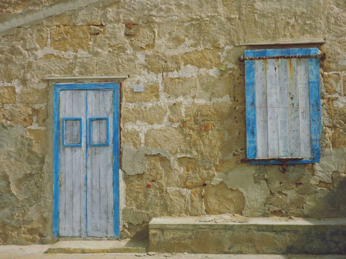 Blue door and Windows Marzamemi Blaue Tür Natursteinmauer Mediterranean  Sunshine Sizilien Sicily Built Structure Architecture Building Exterior No People Closed Door Wall - Building Feature Window Building Old House Wood - Material Blue Wall