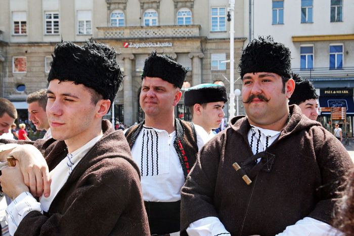 Macedonia,Skopje,Ansambl 'Makedonija' Zagreb, Croatia Backstage Before Performing  Culture Dancer Day Europe Folklore History Hot International Folklore Festival Main City Square Men Music National Outdoors Performance Real People Show Summer Sweat Traditional Waiting Youth
