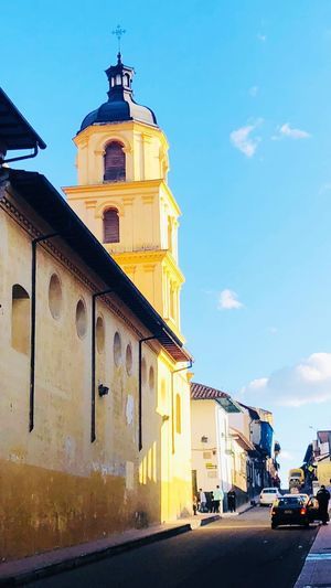 Old Town Street Church Bogotá Colombia La Candelaria Building Exterior Built Structure Architecture Sky Building City Nature Place Of Worship Tower Sunlight Transportation