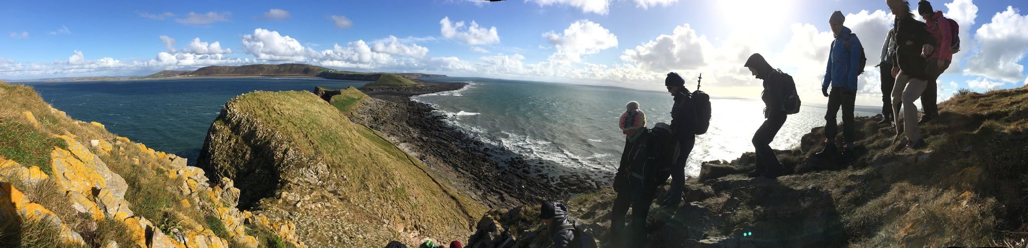 Rhossili Bay Worm's Head Explorers Gower Peninsula Wales Beauty In Nature Cliff Cloud - Sky Day Landscape Nature Outdoors Panoramic People Rock - Object Scenics Sea Sky Walkers Water Worms Head