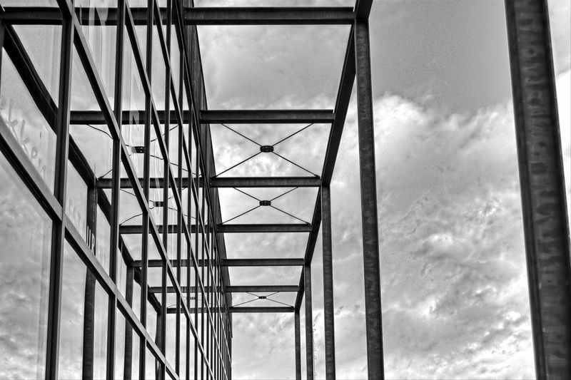 glass and metal structure Architecture Back And White Black & White Black And White Blackandwhite Built Structure Cloud - Sky Day Glass And Metal Glass And Metal Architecture Glass And Steel Glass Architecture Low Angle View Metal Architecture Metal Columns Modern Architecture Nature No People Outdoors Sky Steel Structure