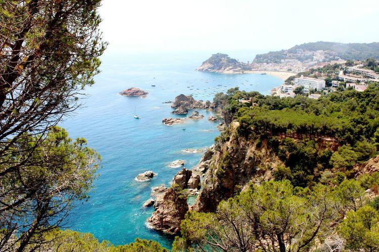 High angle view of mountains and sea