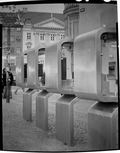 expired Film Photography Black And White Photography Black And White Slide Large Format Analogue Photography Black And White Reversal Copenhagen Public Telephone Expired Film 5x4 Sinar Norma Architecture History Outdoors Day
