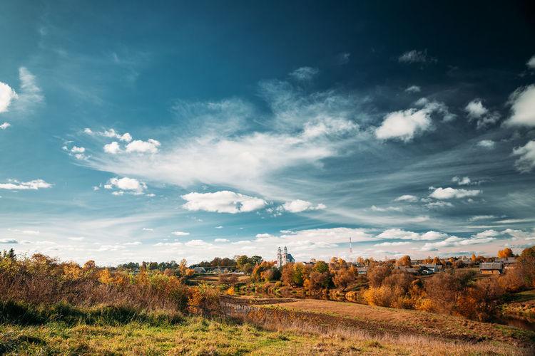 Germanovichi, Vitebsk Region, Belarus. Church Of Transfiguration Of Lord In Sunny Day.Copy Space. Autumn Landscape. No People Belarus Church Landmark Travel Heritage Landscape Outdoors My Best Photo