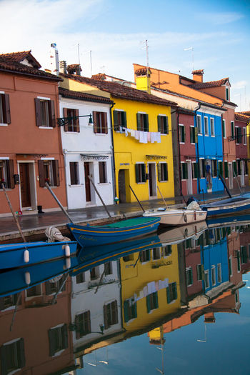 Venice landmark, Burano island canal and colorful houses. Building Color Colorful Europe Exterior House Island Italia Italy Landmark Paint Tourism Tradition Traditional Travel Venetian Venezia Venice Venice Canals Venice, Italy View Vivid Vivid Colours  Water Water_collection