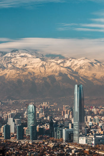 Aerial View Of Cityscape Against Snowcapped Mountains