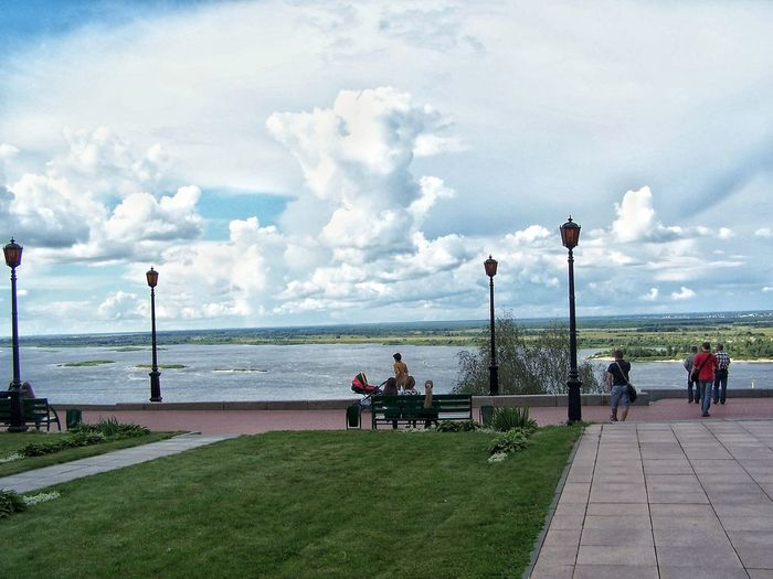 Water Cloud - Sky Sitting Travel Destinations Horizon Over Water Adults Only People Grass Pavement Nizhniy Novgorod Russia Lamps Day View Volga Oka River Outdoors High Clouds Clouds White Scenics Landscape Bench Backdrop