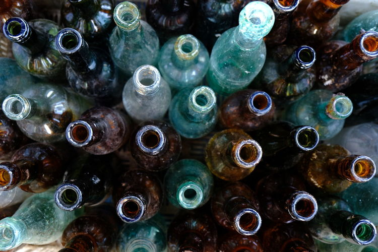 Full frame shot of bottles