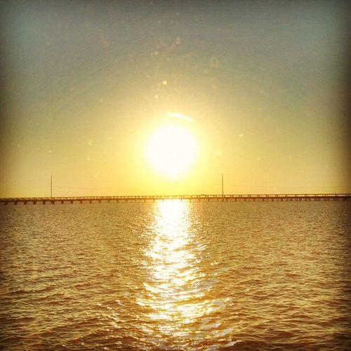 Sunrise over Lake Pontchartrain. #iphoneography #jomo #neworleans #amtrak IPhoneography Amtrak Jomo Neworleans