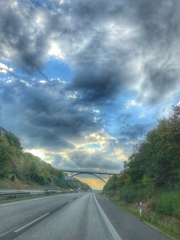 iPhone X. HDR. Sky over Lower Franconia. Road Cloud - Sky The Way Forward Sky Tree Outdoors Nature No People Highway