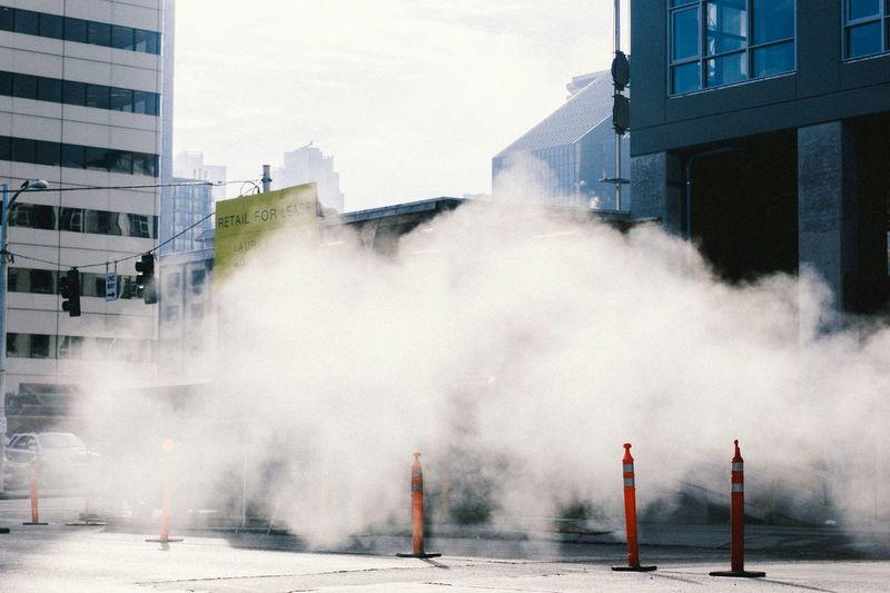 Steam on city street