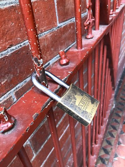 Old Padlock Lock Metal Architecture Built Structure Day No People Red Wall - Building Feature Building Exterior Railing Brick Wall Pattern Wall Outdoors Rusty Close-up Brown Brick