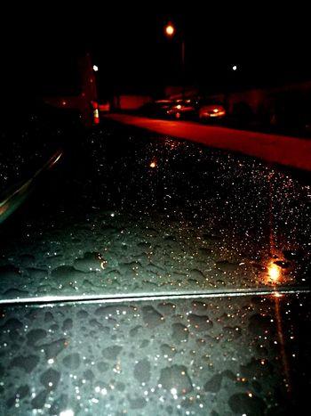Night Car Transportation Street Traffic Rain Land Vehicle Wet Road Illuminated City No People Nature Outdoors Snowing