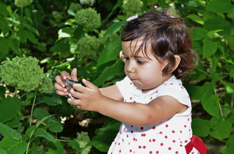 2 years girl discovering photos in a digital camera. She´s doing a funny face. Baby Childhood Day Funny Girls Green Color Growth Holding Leaf Leisure Activity Lifestyles Nature One Person Outdoors People Plant Real People Shooting Photos,baby, Funny Standing