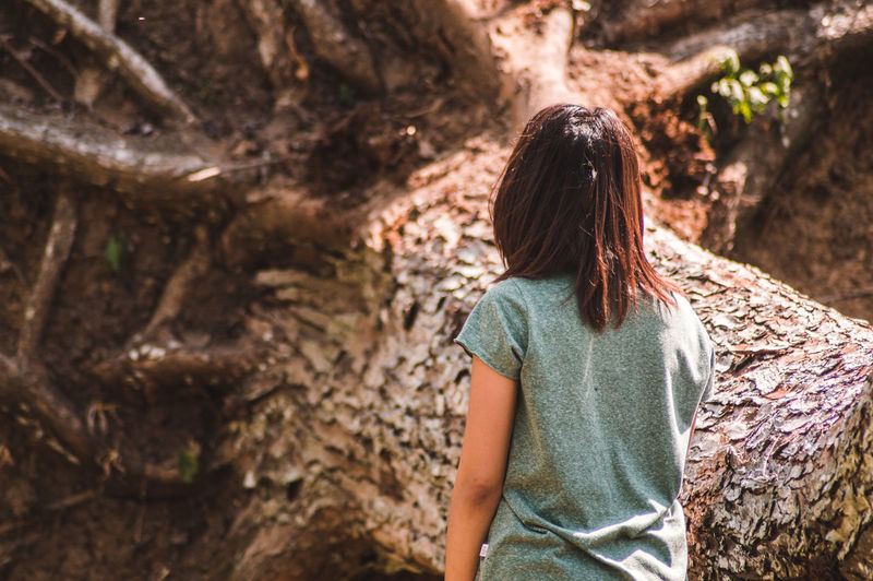 Rear view of young woman standing by fallen tree