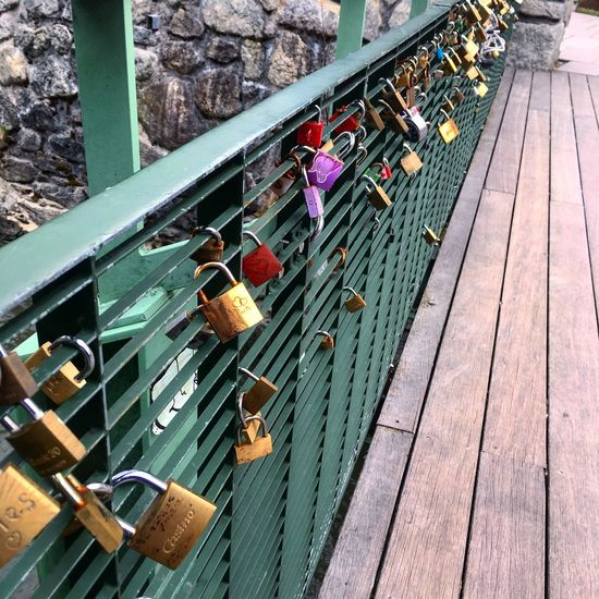Beautoful love locks on a bridge in Chamonix city centre Aupair Railing High Angle View Security Lock Metal Protection Day Safety Outdoors Wood - Material Hanging Variation No People Large Group Of Objects Architecture Water Hope Close-up