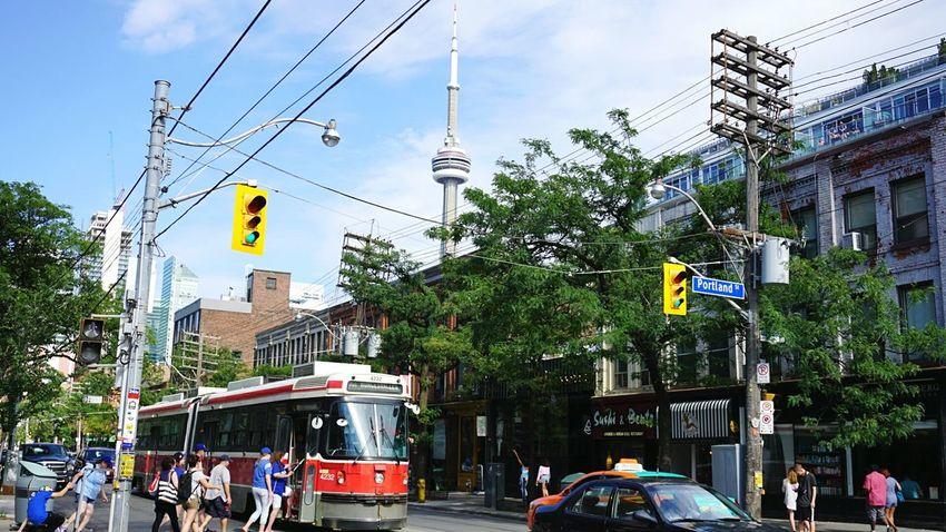Queen St. Toronto Street Photography Toronto Canada Queen Street Streetcar CN Tower