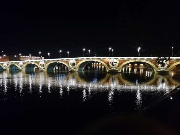 Toulouse by night France 🇫🇷 Sud-ouest Toulouse Soirée Nuit Blanche Water Illuminated City Reflection Bridge - Man Made Structure Symmetry Sky Reflecting Pool