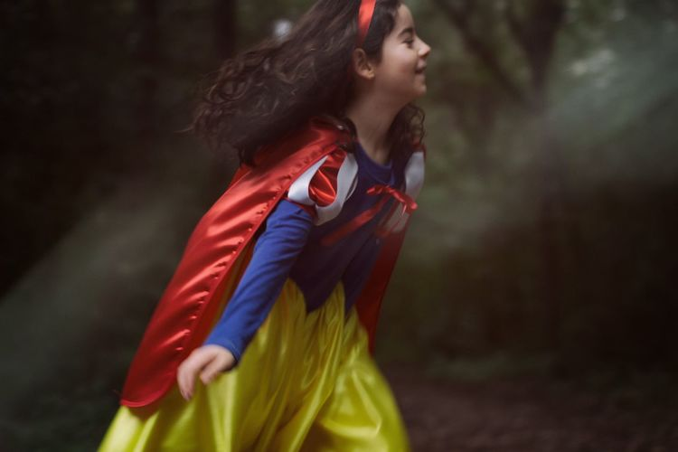 Snow White Snow White Princess Taking Photos Children Childhood Natural Check This Out Girl Photography In Motion Running Happiness Forest Green