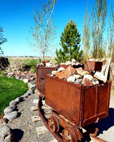 Idaho/Minecarts Tree Sky Minecart Rocks Railroad Track Blue Bluesky Idaho Boise Red Outside Tree Sky Close-up