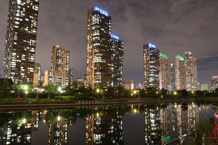 Night Lights Nightphotography Seoul Seoul Tower Architecture Building Building Exterior Built Structure City Cityscape Illuminated Modern Nature Night No People Office Building Exterior Reflection Sky Skyscraper Tall - High Tower Urban Skyline Water Waterfront