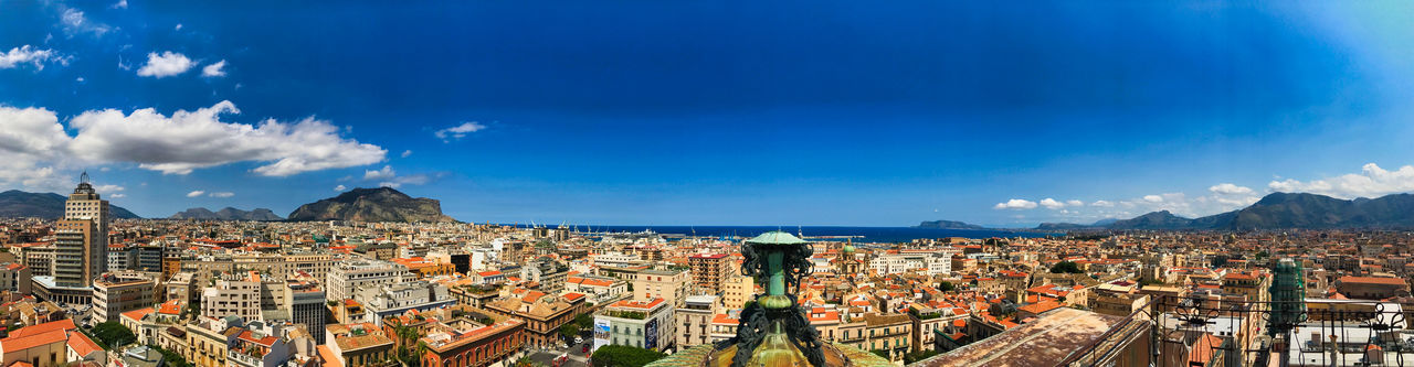 Palermo Architecture Blue Building Building Exterior Built Structure City City Life Cityscape Cloud - Sky Crowd Crowded High Angle View Nature Outdoors Palermo Opera Rooftop Panoramic Residential District Sky Town Travel Travel Destinations Urban Skyline
