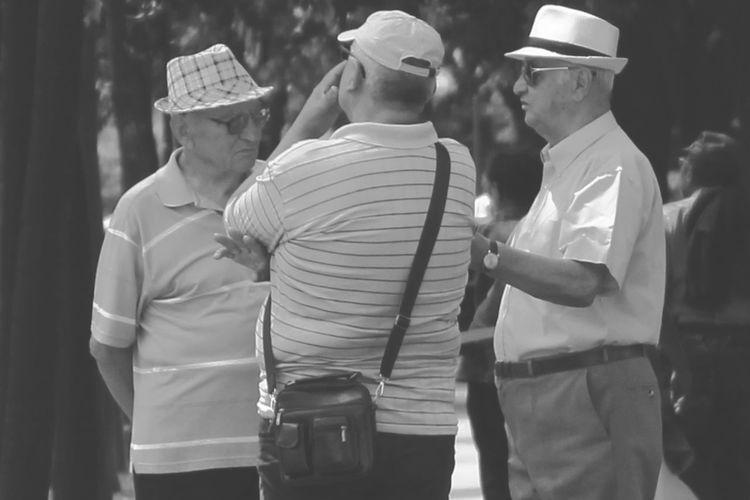 Mature men discussing at park