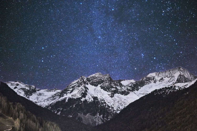 Starry night above Hochgall Alps Alto Adige Astrography Astronomy Astrophotography Beauty In Nature Hochgall; Italy Landscape Mountain Natura Nature Nature Night Night Time No People Outdoors Paesaggi Reins In Taufers Riva Di Tures Sky Starry Night Stelle  Vedrette Di Ries Winter