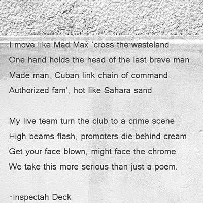 Inspectah Deck. InspectahDeck HipHop Bars Lyrics