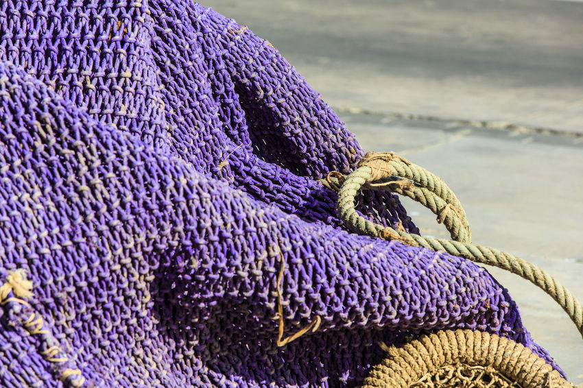 Art And Craft Blue Close-up Craft Creativity Fishing Fishing Nets No People Pattern Purple Rope Textile Textured