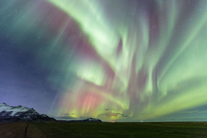 Scenic view of aurora borealis in sky