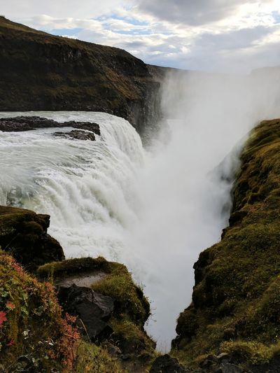 Gullfoss Icelandic Landscape Landscape Iceland Waterfall Power Gullfoss Gullfoss Waterfall Hvítá River Canyon Water Waterfall Tree Power In Nature Motion Rapid Sky Flowing Water Flowing Ravine Natural Landmark