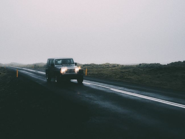 Traveling Home For The Holidays Road On The Move Land Vehicle Car Outdoors No People Day Driving Scenics Nature Pick-up Truck Fog Mist Iceland Moody