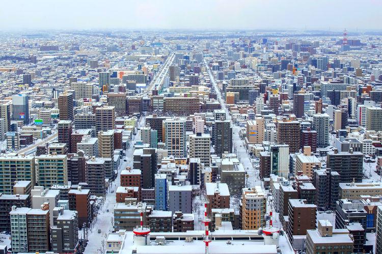 Beautiful view, landmark of sapporo city in winter, sapporo, hokkaido, japan