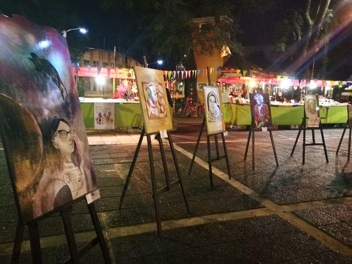 Expo arte ArtWork Painting Art Expo Hurlingham Buenos Aires Exploration Urbaine Noche Magica Illuminated Crowd Men Women City Arts Culture And Entertainment