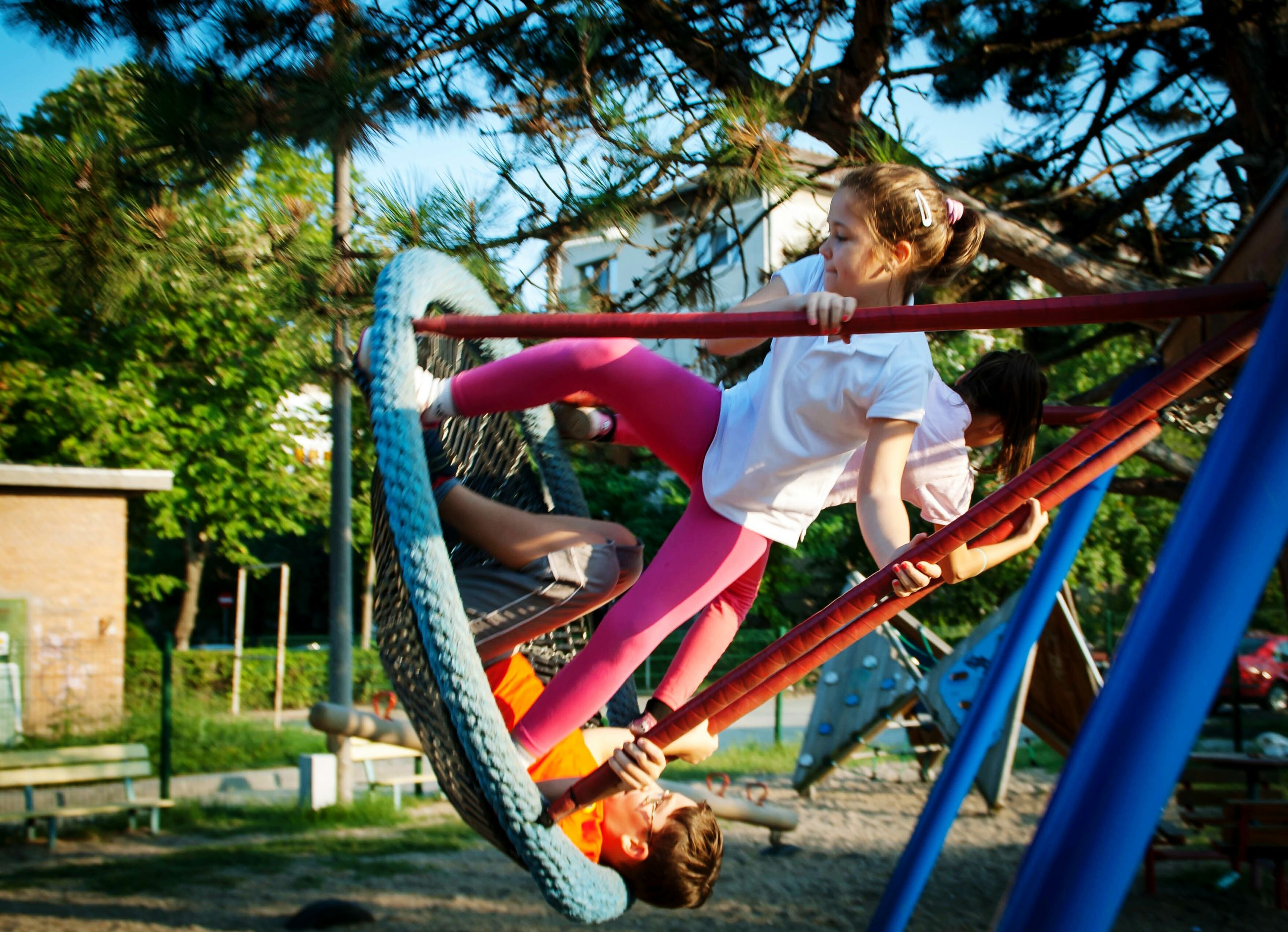child, playground, childhood, full length, monkey bars, children only, people, real people, climbing, jungle gym, outdoor play equipment, outdoors, tree, adventure, day, one person, adult