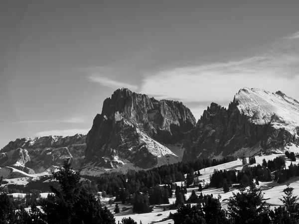 Skiing :) Alpe Di Susi Alps Beauty In Nature Blackandwhite Day Dolomites, Italy Italy Monochrome Mountain Mountain Range Nature No People Outdoors Scenics Skiing Sky Sky And Clouds