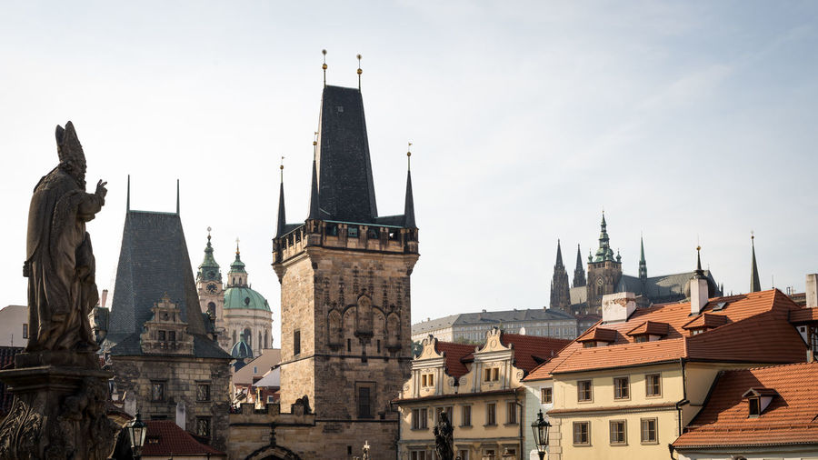 Low Angle View Of Charles Bridge In City Against Sky
