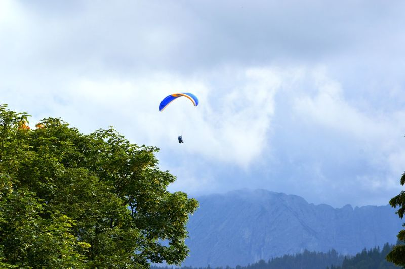 Adventure Beauty In Nature Cloud - Sky Day Extreme Sports Flying Freedom Joy Leisure Activity Mid-air Nature One Person Outdoors Parachute Paragliding Plant Real People Sky Sport Tree Unrecognizable Person
