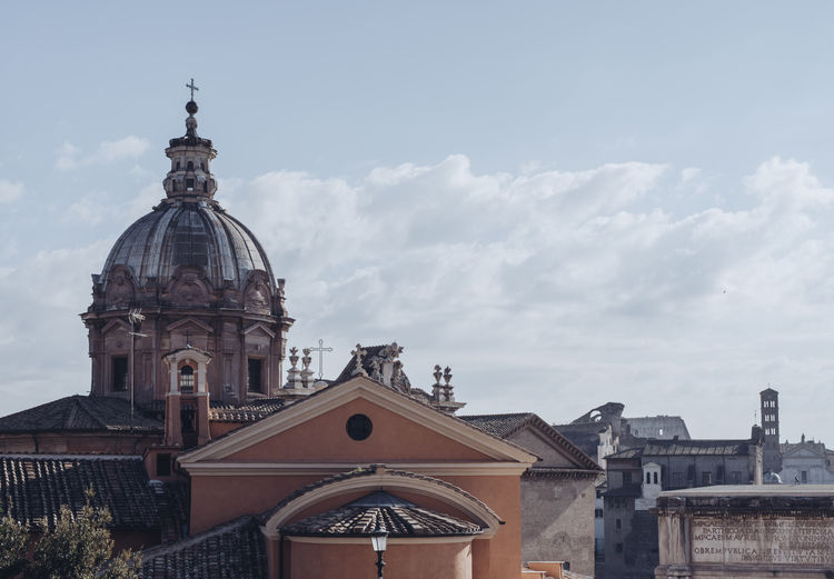 Panoramic view over the historical Rome Building Exterior Built Structure Architecture Religion Place Of Worship Spirituality Belief Building Dome Sky Cloud - Sky Nature Day No People City Travel Destinations Outdoors Spire  Roma Forum Romanum Palatine Church Cupola Roman Empire