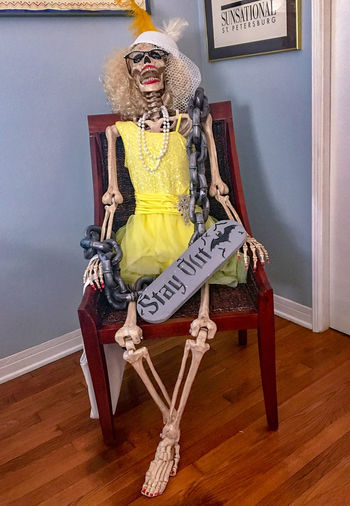 Humor Skeleton Woman Costume Halloween Home Interior Human Representation Humorous Seasonal Decoration
