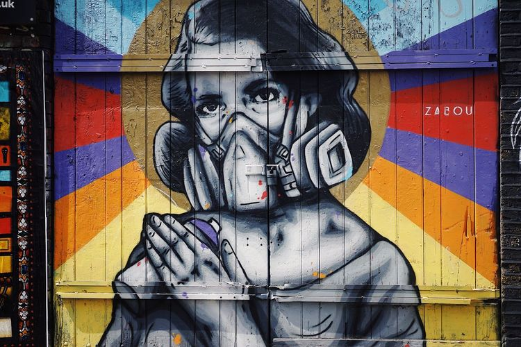 WallLady Art And Craft Creativity Graffiti Human Representation Street Art Built Structure Day Communication Architecture Outdoors Multi Colored No People Building Exterior Close-up Bricklane The Street Photographer - 2017 EyeEm Awards Neon Life