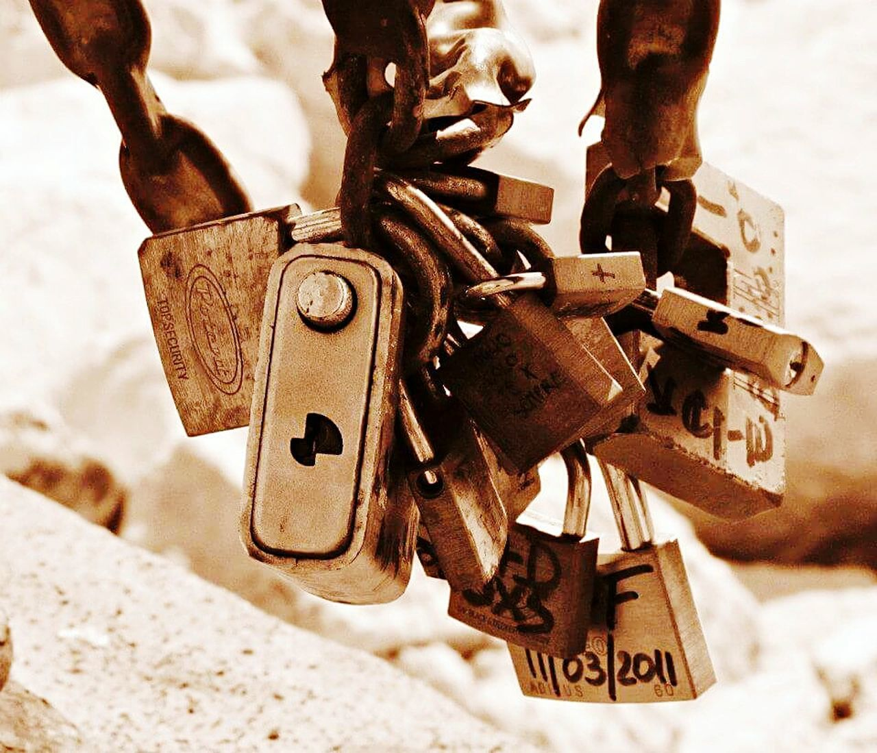 padlock, lock, hanging, love lock, security, metal, love, close-up, hope, luck, no people, rusty, variation, day, outdoors, focus on foreground, large group of objects