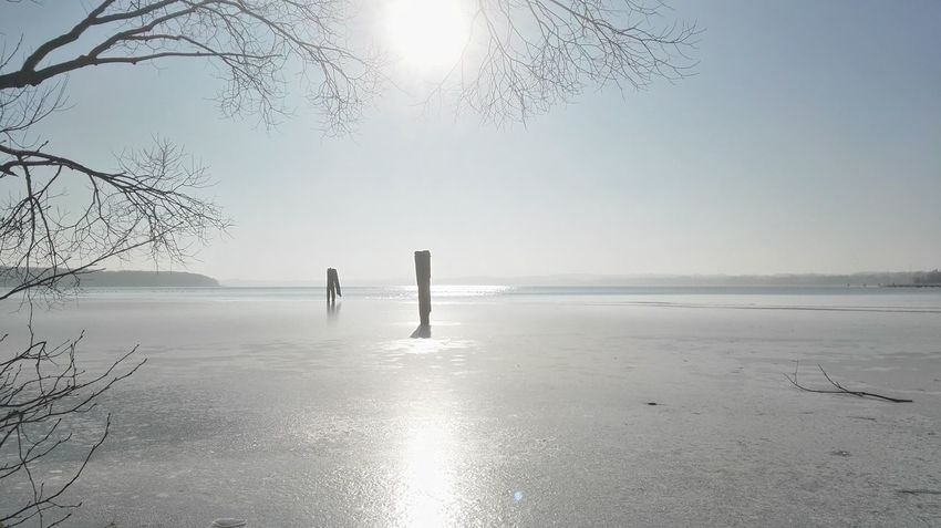Beauty In Nature Clear Sky Cold Temperature Horizon Over Water Nature No People Sky Sun