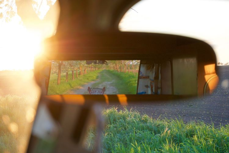 The Drive Aircooled VW T1 Mirror Car Grass Nature Field Outdoors Day Landscape Sunlight VW Bus Vehicle Interior Window