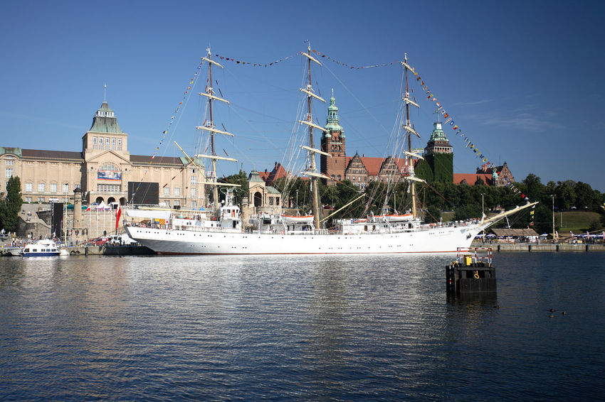Poland Szczecin Mast Mode Of Transport Moored Nautical Vessel Polen Sailing Ship Stettin Transportation Water Yacht