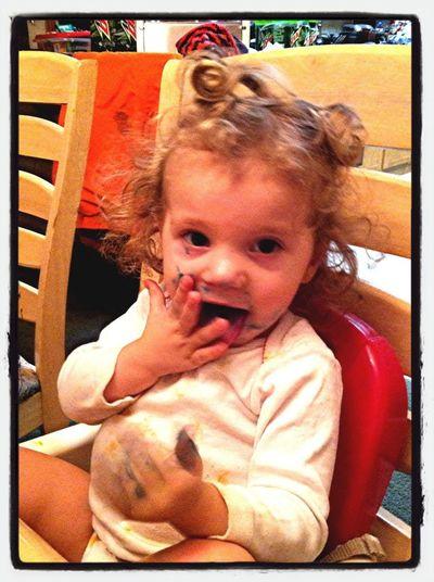 Kenzie was enjoying my celebration cake.