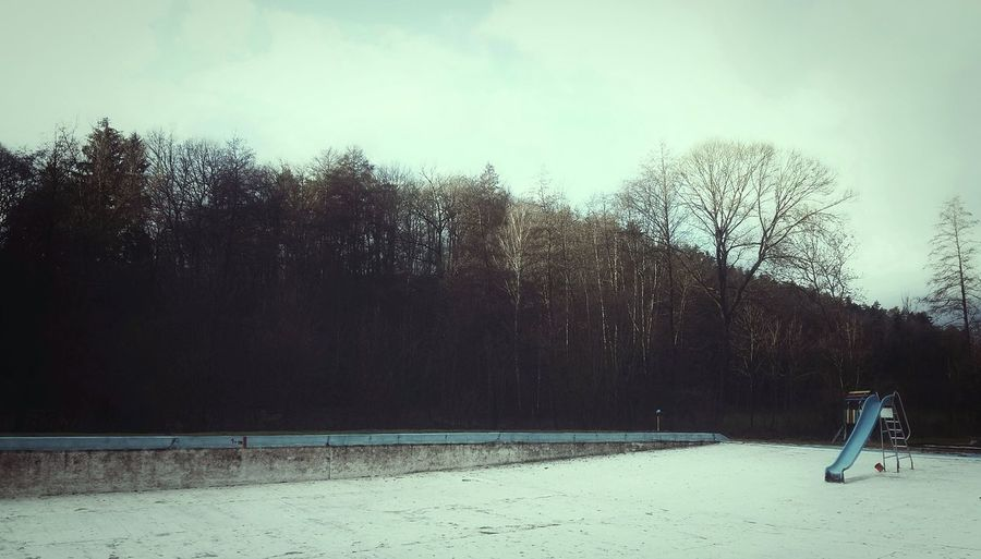 Its Cold Outside Winter Toboggan In Winter Empty Swimming Pool Winter Atmosphere