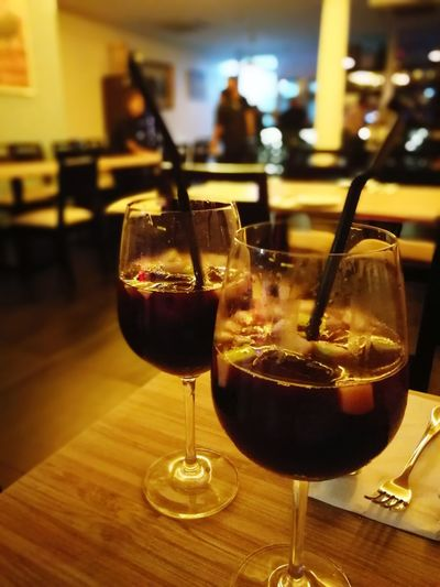 Red wine sangria Wineglass Drink Indoors  Drinking Glass Alcohol Bar - Drink Establishment No People Bar Counter Wine Close-up Freshness Day Sangria! Sangria Time Wine Not